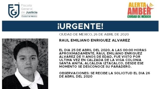 FOTO: Activan Alerta Amber para localizar a Raúl Emiliano Enríquez Álvarez, el 27 de abril de 2020