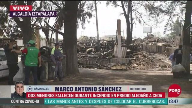 FOTO: mueren dos menores en incendio en predio cercano a central de abastos cdmx