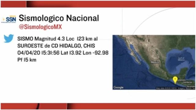 Foto: Se registran dos sismos en el estado de Chiapas, 4 de abril de 2020 (SSN)