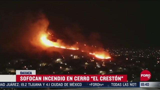 FOTO: sofocan incendio en cerro el creston en oaxaca