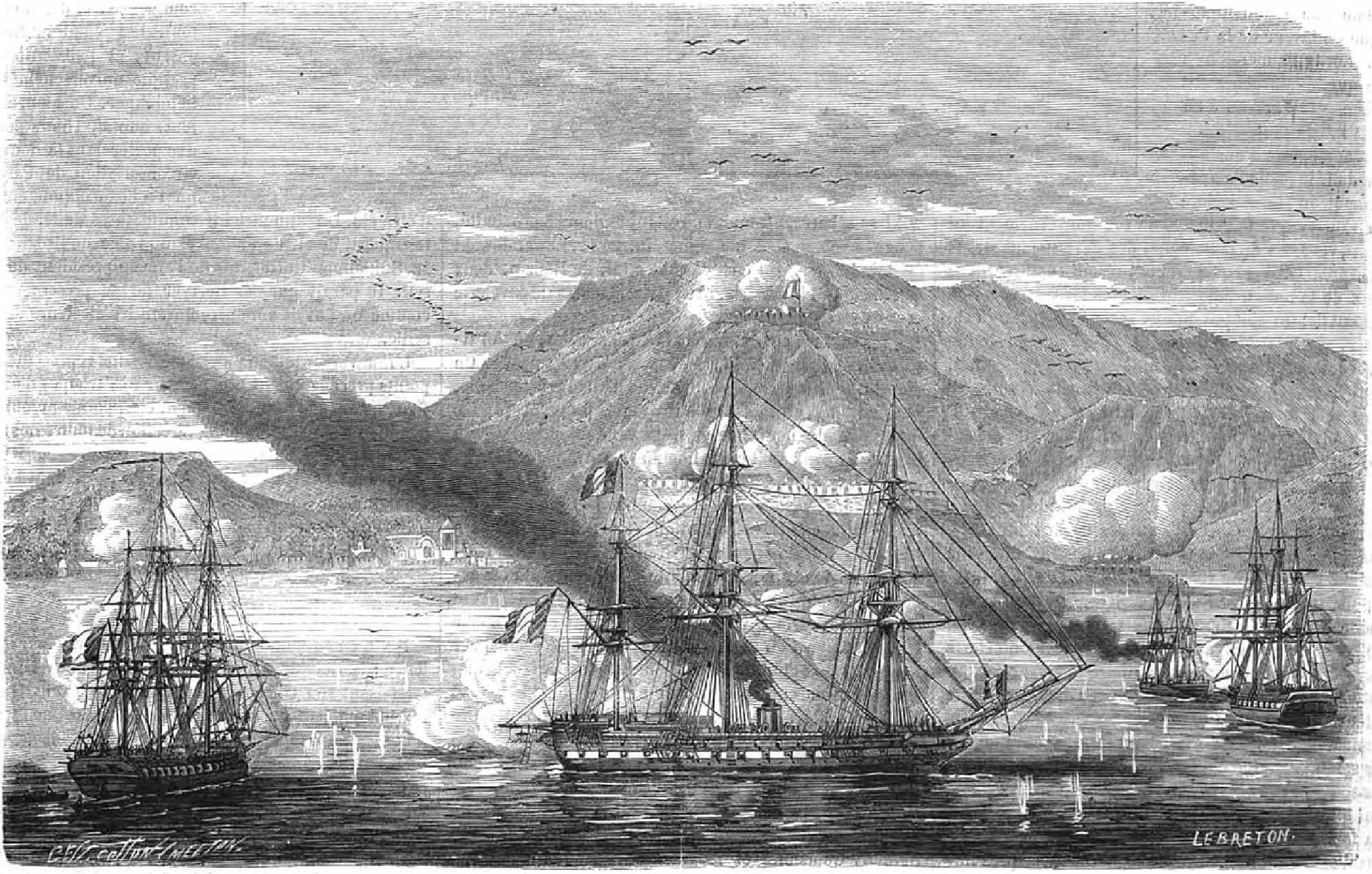 Grabado de la entrada de la armada francesa en el puerto de Acapulco, 1863