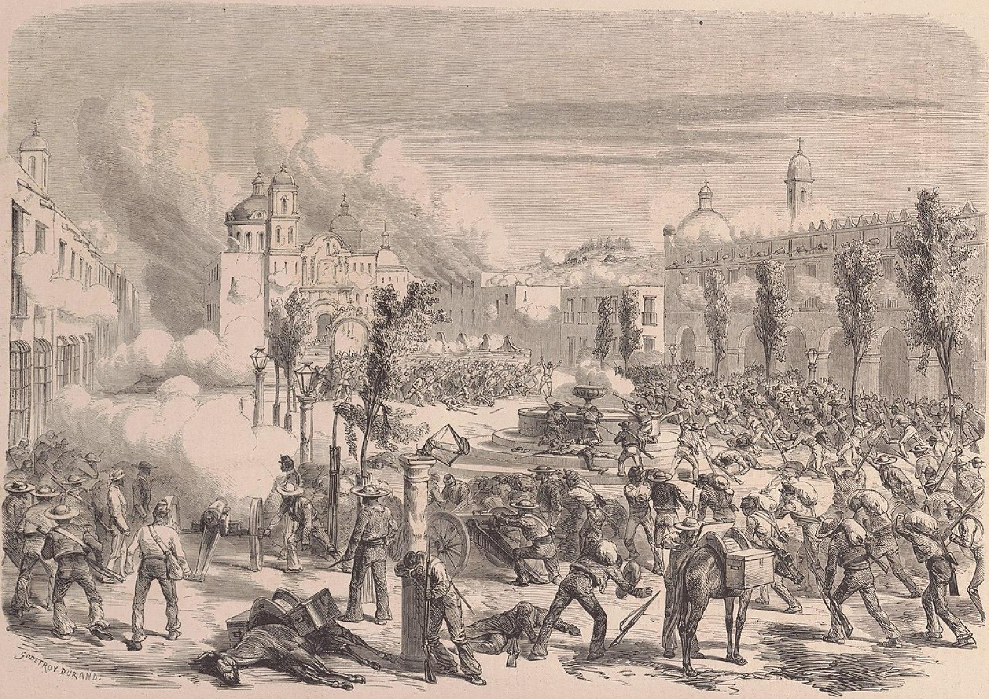 Grabado de Le Monde Ilustré que muestra una escena de la Invasión Francesa a México en 1865.