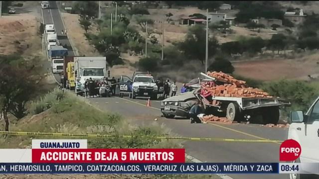 FOTO: 31 de mayo 2020, accidente carretero en guanajuato deja 5 muertos