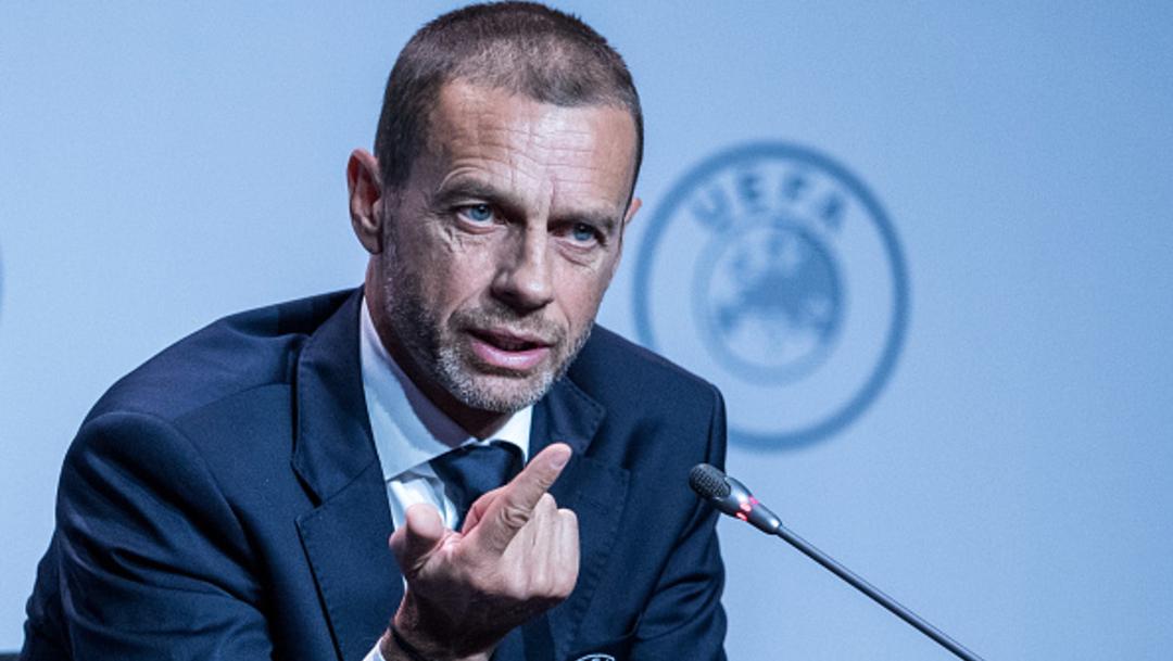 El presidente de la UEFA, Aleksander Ceferin, ofrece una conferencia de prensa. (Getty Images/archivo)