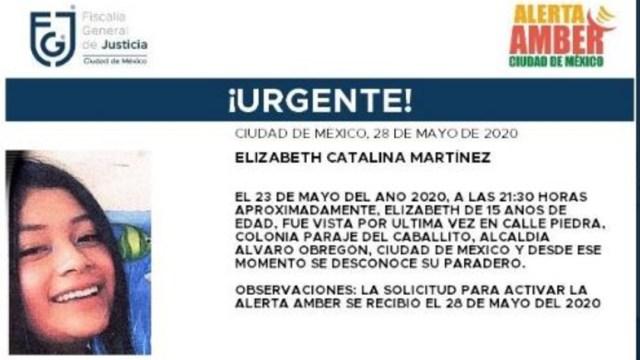 Activan Alerta Amber para localizar a Elizabeth Catalina Martínez. (Foto: @FiscaliaCDMX)