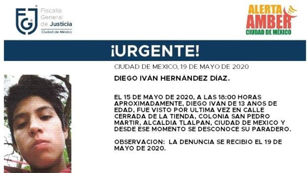 FOTO:Activan Alerta Amber para localizar a Diego Iván Hernández Díaz, el 20 de mayo de 2020