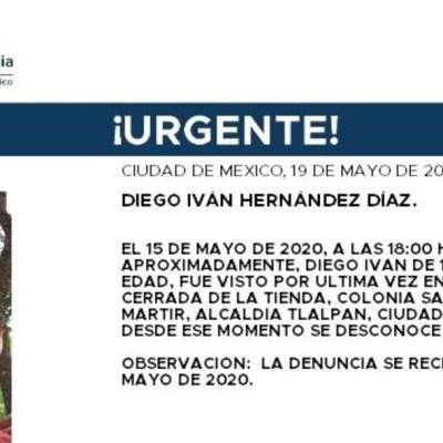 Activan Alerta Amber para localizar a Diego Iván Hernández Díaz