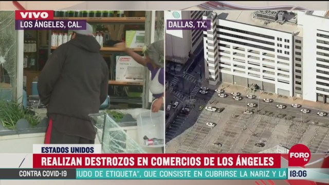 FOTO: 31 de mayo 2020, captan en video a anarquistas causando destrozos y saqueos en los angeles
