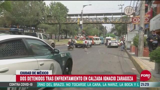 Foto: detienen a dos personas tras balacera en calzada ignacio zaragoza 14 Mayo 2020