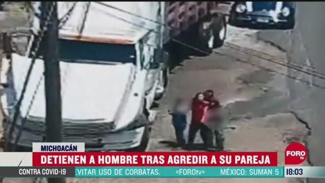FOTO: detienen a hombre tras agredir a su pareja en michoacan