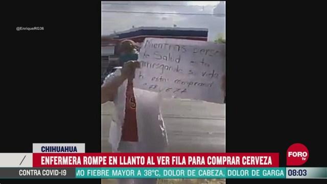 FOTO: 23 de mayo 2020, enfermera llora al ver gente comprando cerveza en chihuahua durante pandemia de coronavirus