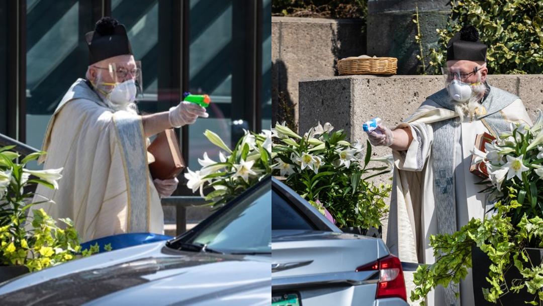 Sacerdote usa una pistola de agua para hacer las bendiciones