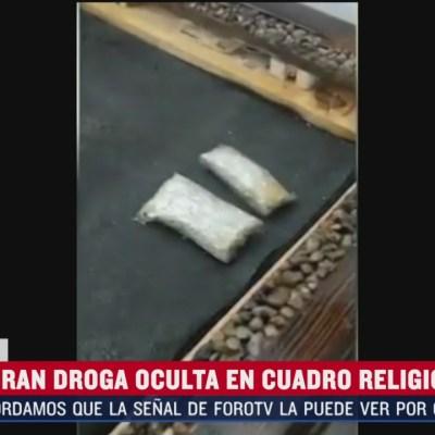 Descubren droga oculta en cuadro de imagen religiosa