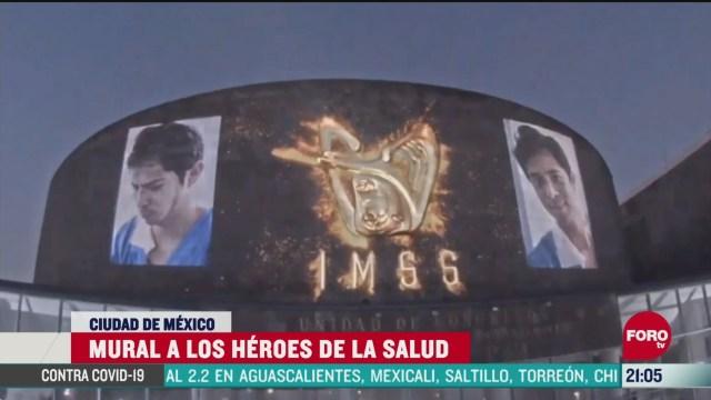 mural heroes de la salud proyección del imss
