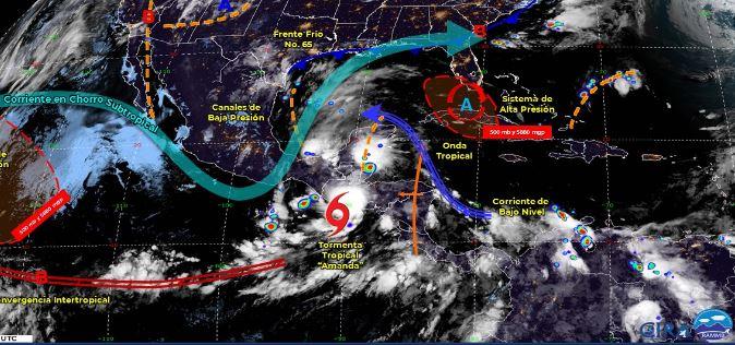 Mapa que muestra los sistemas meteorológicos del domingo 31 de mayo. (Foto: https://smn.conagua.gob.mx/)