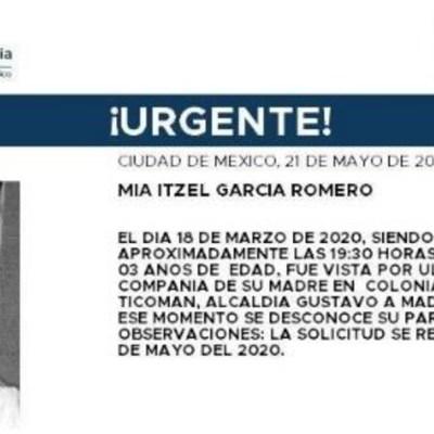 Activan Alerta Amber para localizar a Mía Itzel García Romero