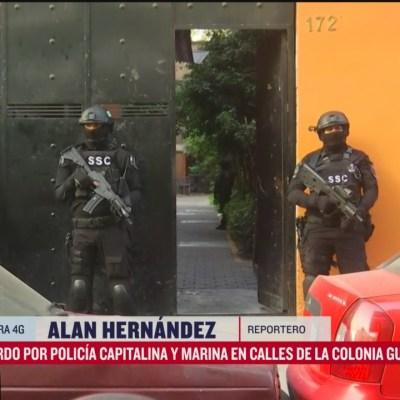 Policía CDMX y Marina resguardan edificio en la Guerrero, en CDMX
