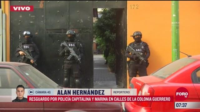 policia cdmx y marina resguardan edificio en la guerrero en cdmx