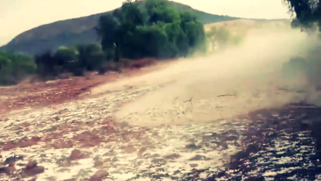 Tromba con granizo azota Santa María del Río