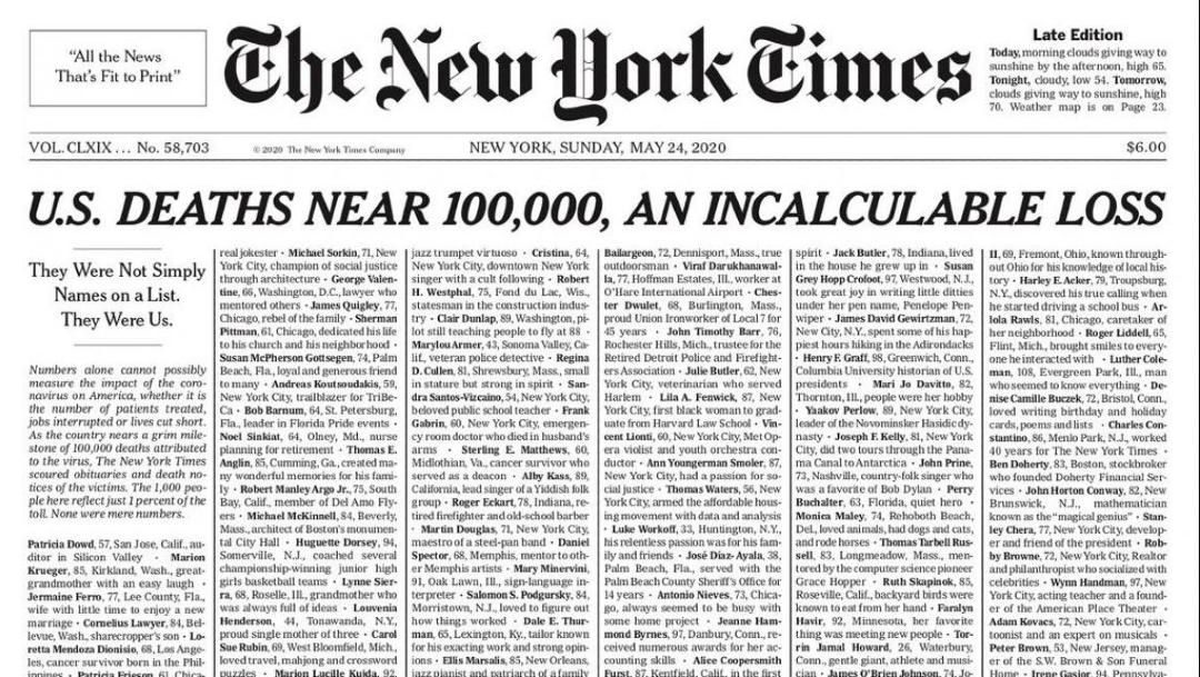 Portada de 'The New York Times' que dedica a muertos por coronavirus. (Foto: Twitter)