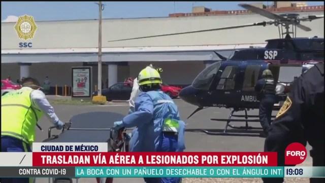 FOTO: 16 de mayo 2020, trasladan via aerea a heridos por explosion en cdmx