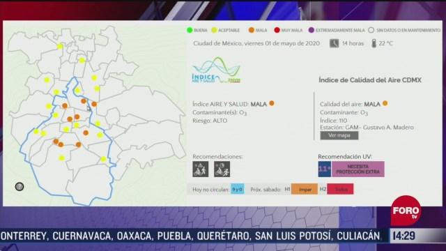 FOTO: 1 de mayo 2020, valle de mexico registra mala calidad del aire