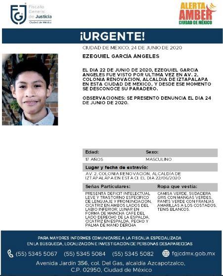 Activan Alerta Amber para localizar a Ezequiel García Ángeles.