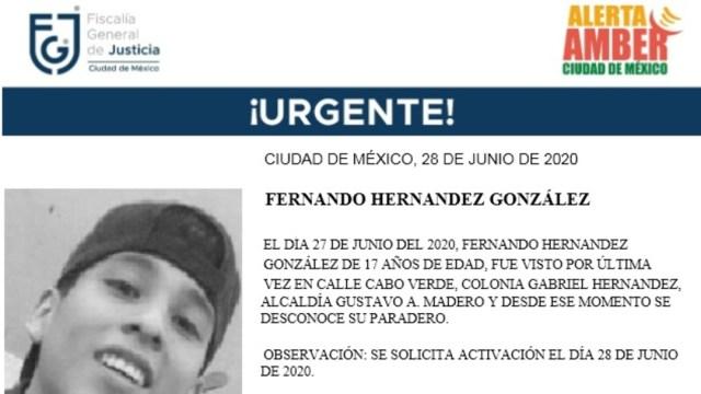 Activan Alerta Amber para localizar a Fernando Hernández González