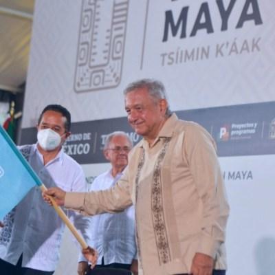 El presidente Andrés Manuel López Obrador da el banderazo para la construcción del Tren Maya. Cuartoscuro