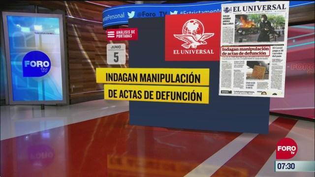 analisis de las portadas nacionales e internacionales del 5 de junio del