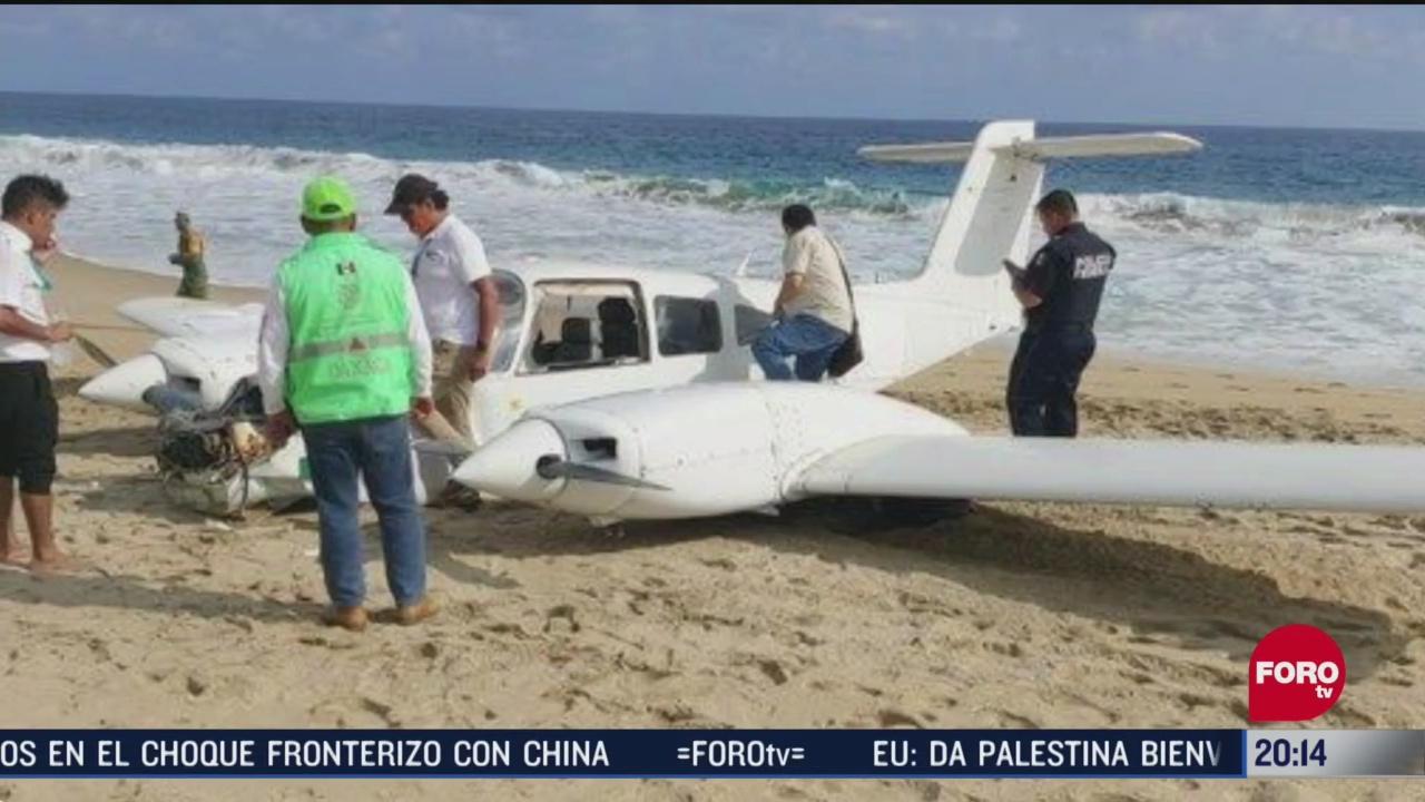 avioneta aterriza de emergencia en playa agua dulce oaxaca