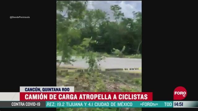 FOTO: camion de carga atropella a ciclistas en cancun hay un muerto