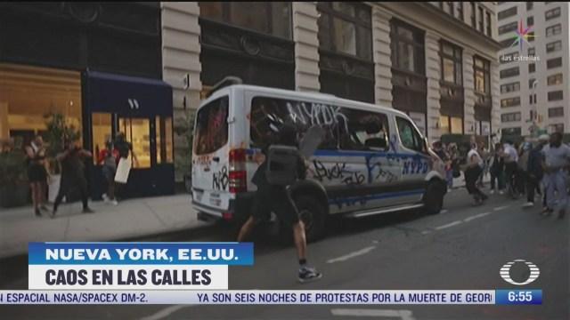 caos en las calles de nueva york por protestas