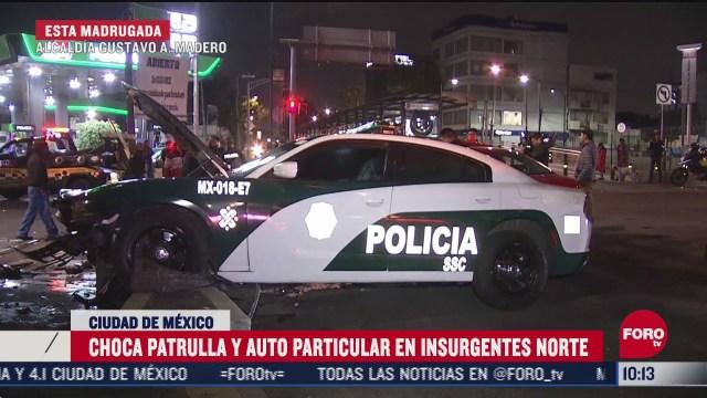 FOTO: 27 de junio 2020, choca patrulla contra auto particular en insurgentes norte