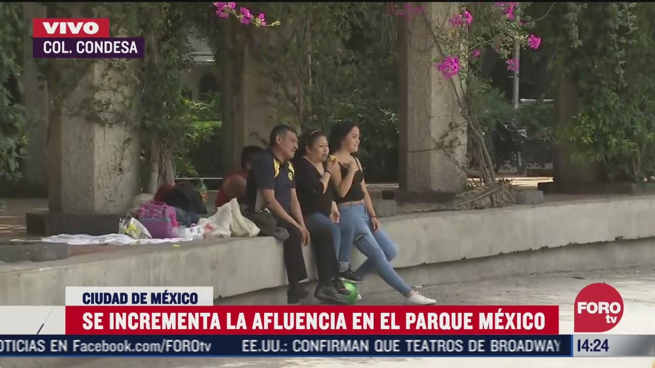 ciudadanos visitan el parque mexico sin cubrebocas ni sana distancia