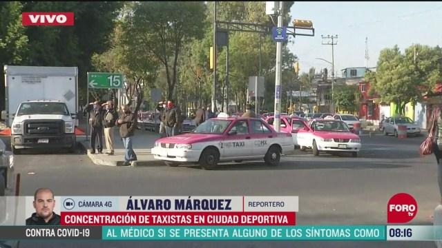concentracion de taxistas en ciudad deportiva en cdmx