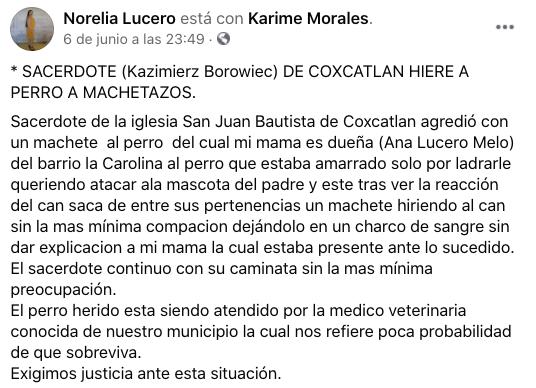 Sacerdote usa machete para atacar a perro que le ladró en San Luis Potosí
