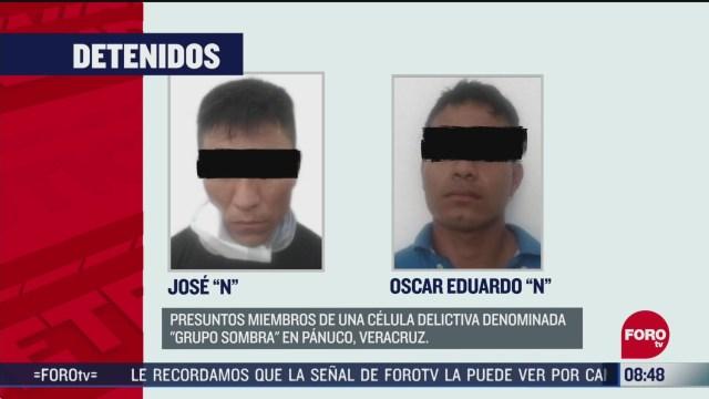 FOTO: 7 de junio 2020, detienen a dos presuntos miembros del grupo sombra en veracruz