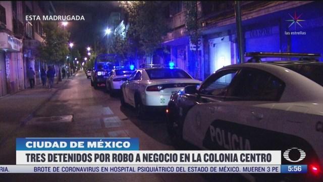 detienen a tres hombres por robar local comercial en cdmx