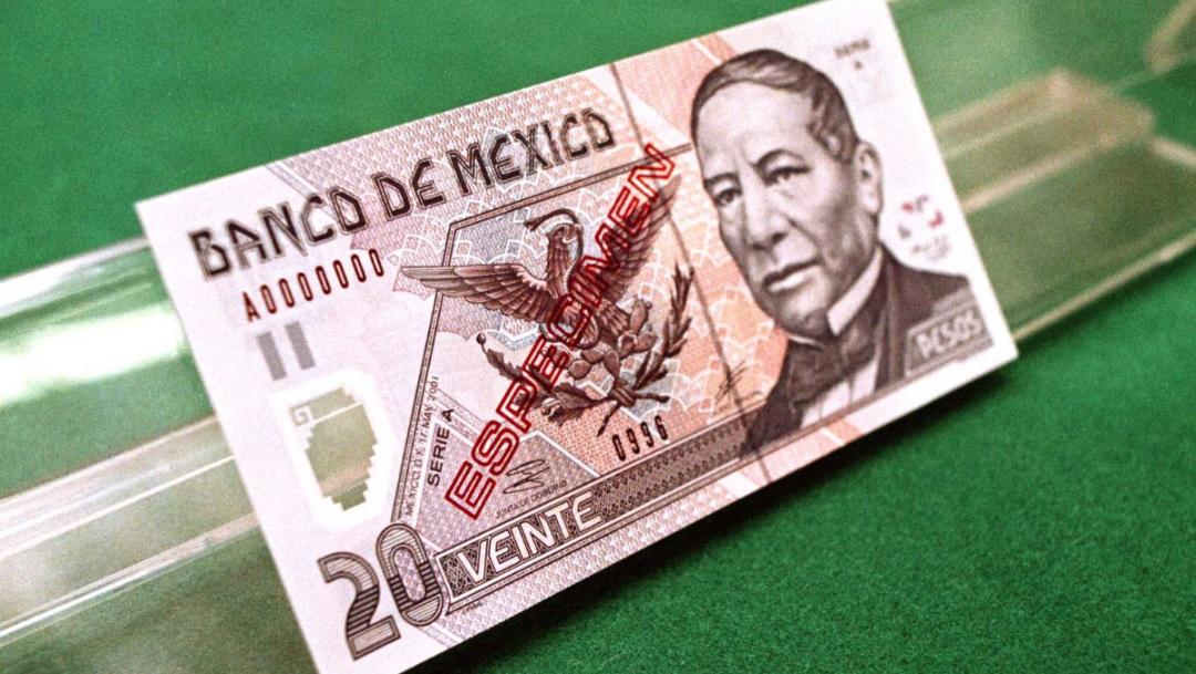 Ejemplar billete de 20 pesos