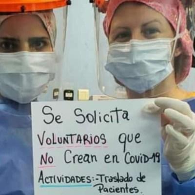 Enfermeras buscan 'voluntarios que no crean en COVID-19'