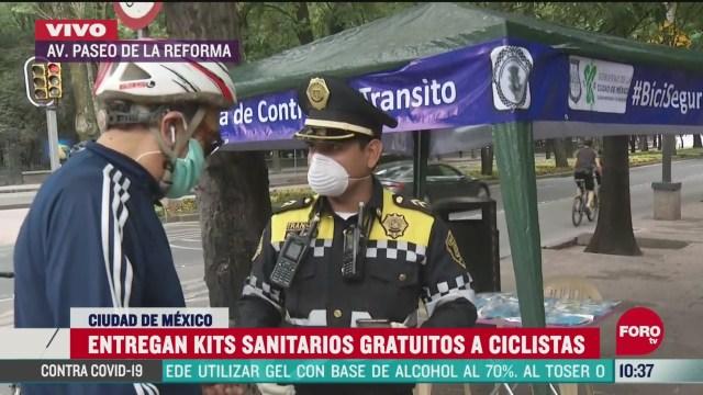 entregan kits sanitarios gratuitos a ciclistas en cdmx