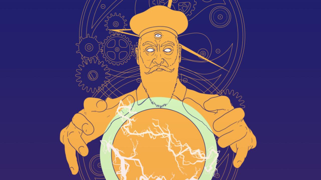 nostradamus amarillo sosteniendo un globo fondo morado, ilustracion