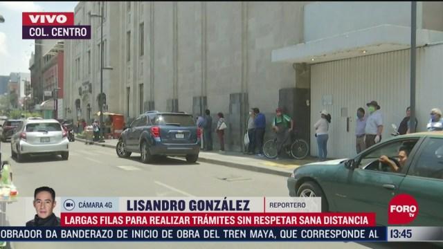 FOTO: largas filas en el centro historico cdmx para realizar pagos pese a pandemia