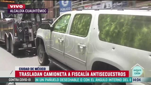 llega camioneta gris usada por delincuentes a fiscalia antisecuestros de cdmx