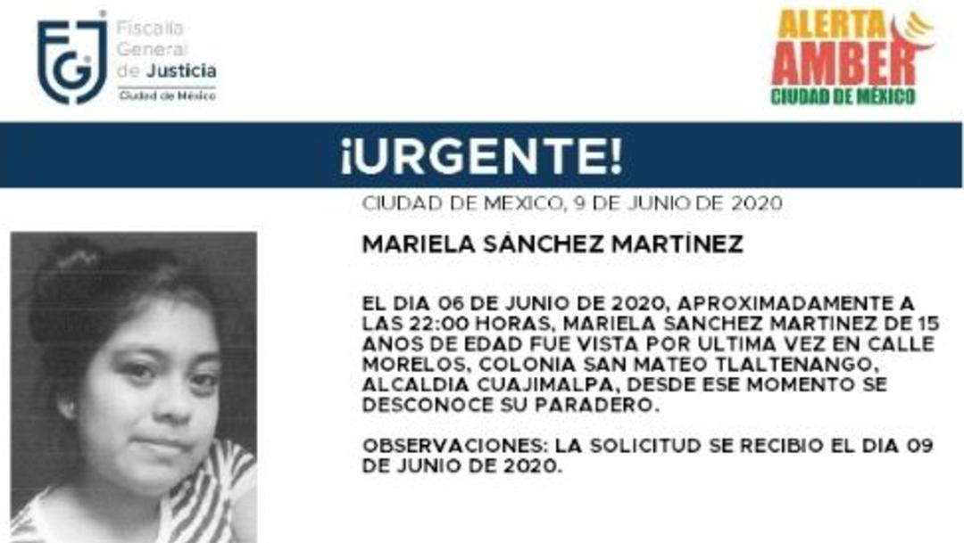 Activan Alerta Amber para localizar a Mariela Sánchez Martínez. (Foto: @FiscaliaCDMX)