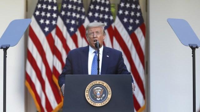 Donald Trump, presidente de Estados Unidos, ofrece mensaje desde la Casa Blanca. Getty Images
