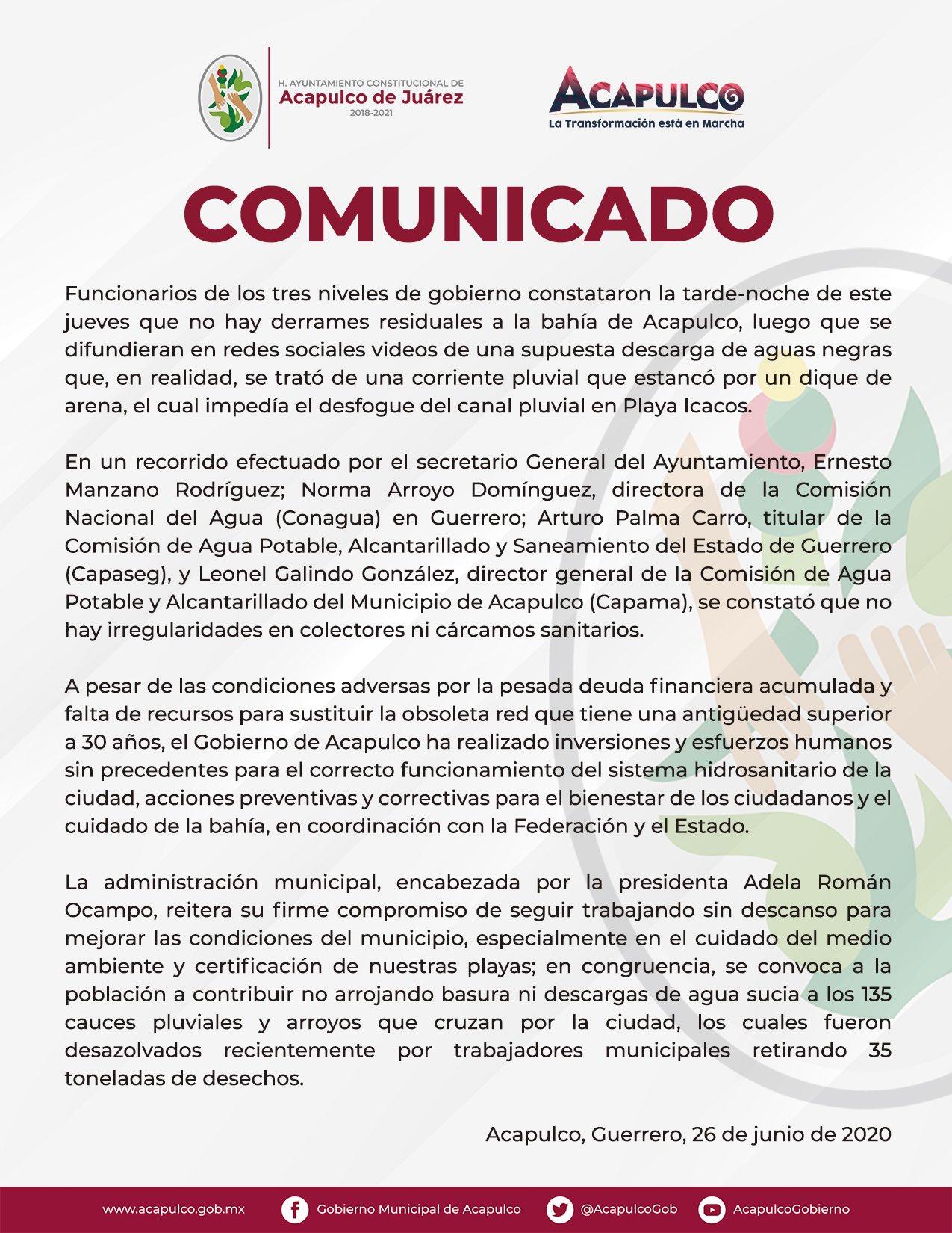 No hay derrames de aguas negras en bahía de Acapulco, confirman autoridades