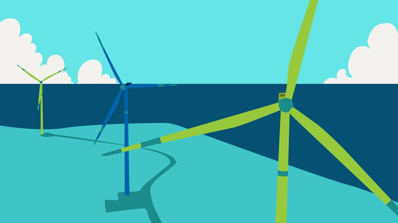 Turbinas blancas de un aerogenerador, ilustración.