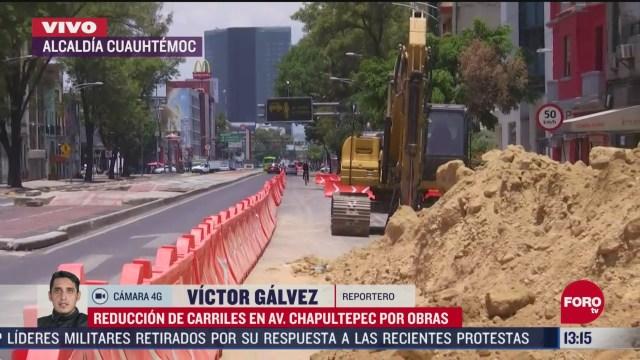 FOTO: 6 de mayo 2020, reduccion de carriles en av chapultepec por colocacion de tuberia